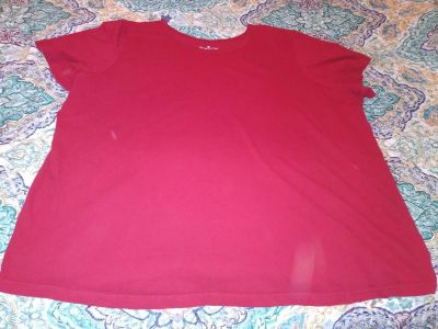 Women Within red shirt size 26-28. Pick up by Deer Island store.