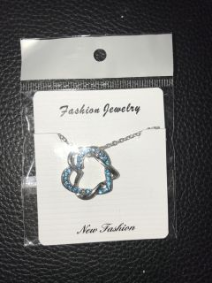 Blue heart necklace and pendant new!