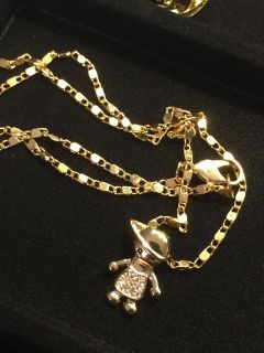 18k GPL Baby Boy Pendant With Chain