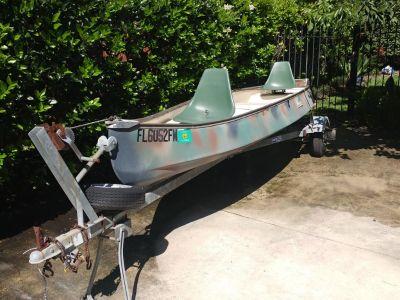 2003 Gheenoe 15' boat w/Cox trailer and Mercury 8HP overboard two-stroke motor