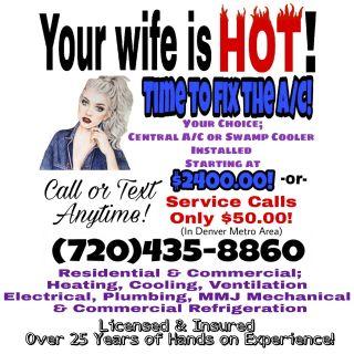 HVAC Service $50! New A/C or Swamp Cooler $2400!