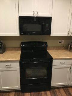 Black electric range and microwave