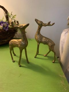 Pair of brass deer decor vintage 60 s.