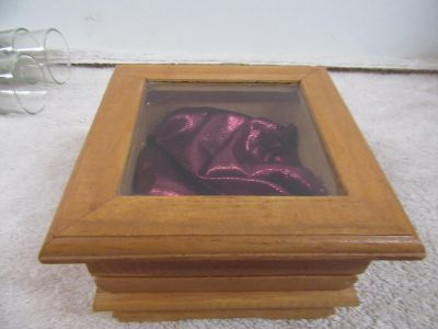 wooden box with hinged lid with glass in lid made to display something special