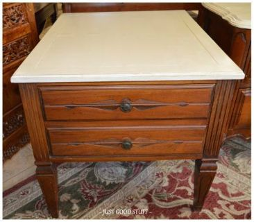 ANTIQUE NIGHT STAND WITH PAINTED TOP