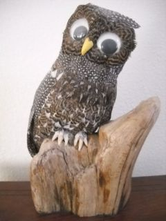 Owl On A Stump Figure-Art Made With Real Feathers Shoe Button Eyes