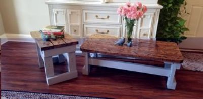 vintage farmhouse style coffee table and end table