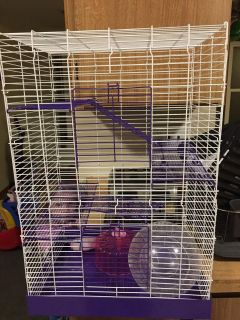 Hamster cage, ball, and wheel
