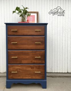 Restored Two Tone Modern Dresser / Chest of Drawers