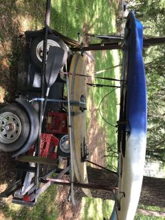 7 trailer with 1 fishing paddle board and kayak