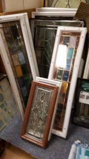 Assorted size leaded & stained glass double pane low e panels new & Used
