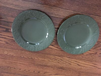Two pretty Fall dinner plates. Microwave and dishwasher safe. Olive green. See comment for leaf design. Quality. Heavy. Gallatin.