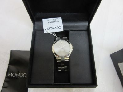 Movado silver dial stainless steel men's watch sapphire lens new battery