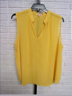 Gibson Latimer misses SHEER BLOUSE YELLOW loose sz XL