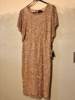 GORGEOUS NWT rose gold by Adrianna Papell, size 12. Knee length or longer. Non smoking home