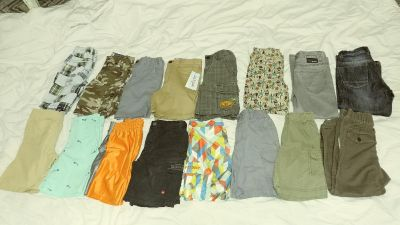 Lot of Boys shorts and pants. Sizes 4T, 5T, 6T - 16 pieces