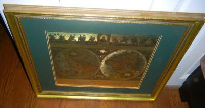 Gold Foil BLAEU Wall Map Beautifully Framed & Matted Art