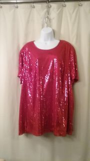 Maggie Barnes red sequined t-shirt style top