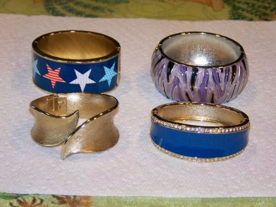 Vintage Hinged Clamp Bangle Bracelets - 4 different ones