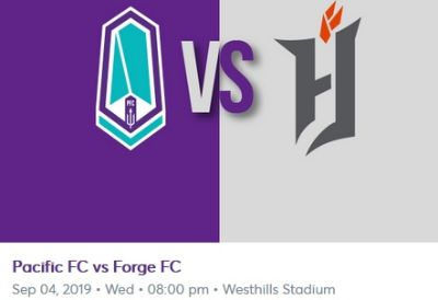 PACIFIC FC vs Forge FC - Sep 4 2019 Wed 8:00pm