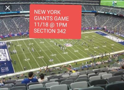 2 tickets for this Sunday 11/18 @ 1pm at Giants stadium vs. Buccaneers