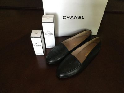 Authentic Chanel shoes, flats, ballet, with logo