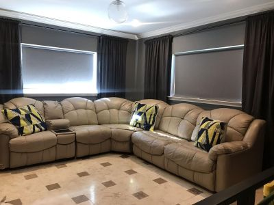 Leather sectional with recliners and sofa bed