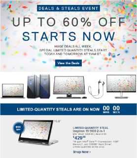 Up to 60% off of Dell Laptops For a Limited Time Starts Now!