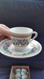 """Set of 6 small cup & saucers. Excellent condition. @ 3"""" tall."""