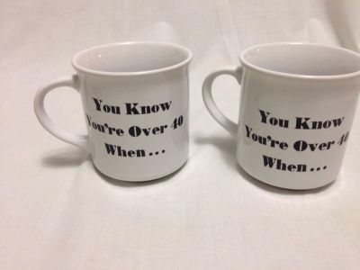 Set of 2 Over 40 Coffee Mugs. Pick up at Target in McCalla on Thursdays 5:15 to 6:00pm.