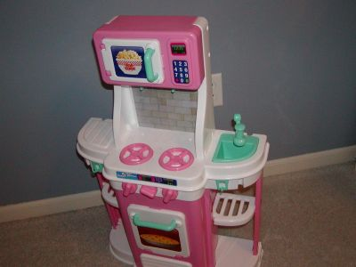 """My First Cookin' Kitchen Pink & White Toy Child Size with attached microwave on top - 32"""" tall x 20"""" wide"""
