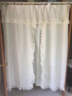 Shower Curtain with Rod, Hooks and Tiebacks