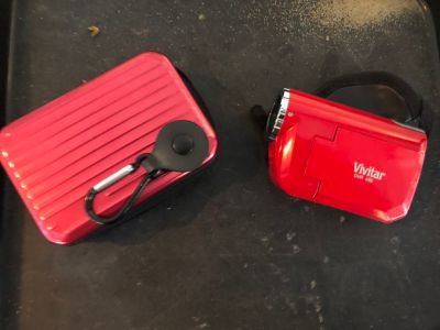 Red vivitar camera with case
