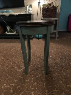 Distressed turquoise end table
