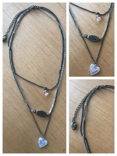 Silver & matte gold three strand heart & love necklace