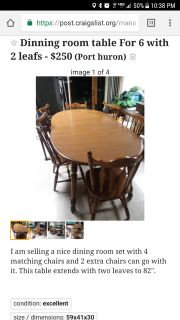 Dining Room set for 6 with two leaves