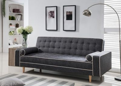 BRAND NEW! CONTEMPORARY GREY LINEN TUFTED SOFA SLEEPER WITH PILLOWS!