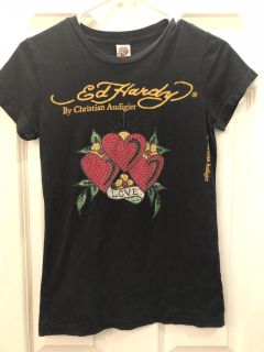 Gorgeous Ed Hardy Tee! Soft & Stretchy! Great Condition! Teen Girl s SZ SM
