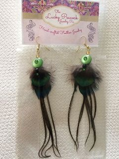 Darling, Green Peacock Earrings, Quill Tail and Swarovski crystals.