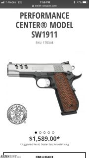 For Sale: Smith & Wesson 1911 performance center