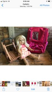 American girl doll, backpack and sled