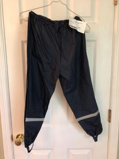 Waterproof pants - dark navy with silver reflective stripes and stirrups