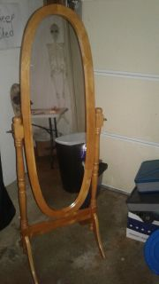 Wooden Cheval Floor Mirror with Cherry Finish