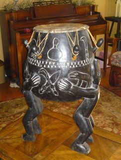 VERY LARGE HANDMADE AFRICAN DRUM
