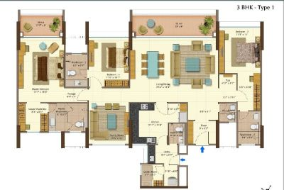 3 BHK Semi furnished Apartments for Sale at Peninsula heights in Bangalore