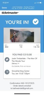 Justin Timberlake concert tickets
