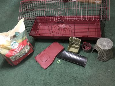 Guinea pig/rabbit cage and accessories