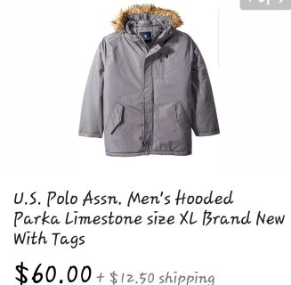 NEW WITH TAGS XL Men's Hooded Parka US Polo Ads