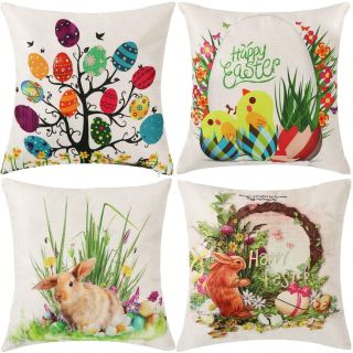 4 Easter Pillow Covers with Invisible Zipper, 18 x 18 Inch