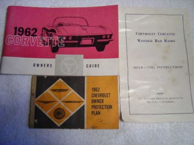 Sell 1962 Corvette owner's manual, sales literature, wonder bar instructions, opp. motorcycle in Commerce Township, Michigan, United States